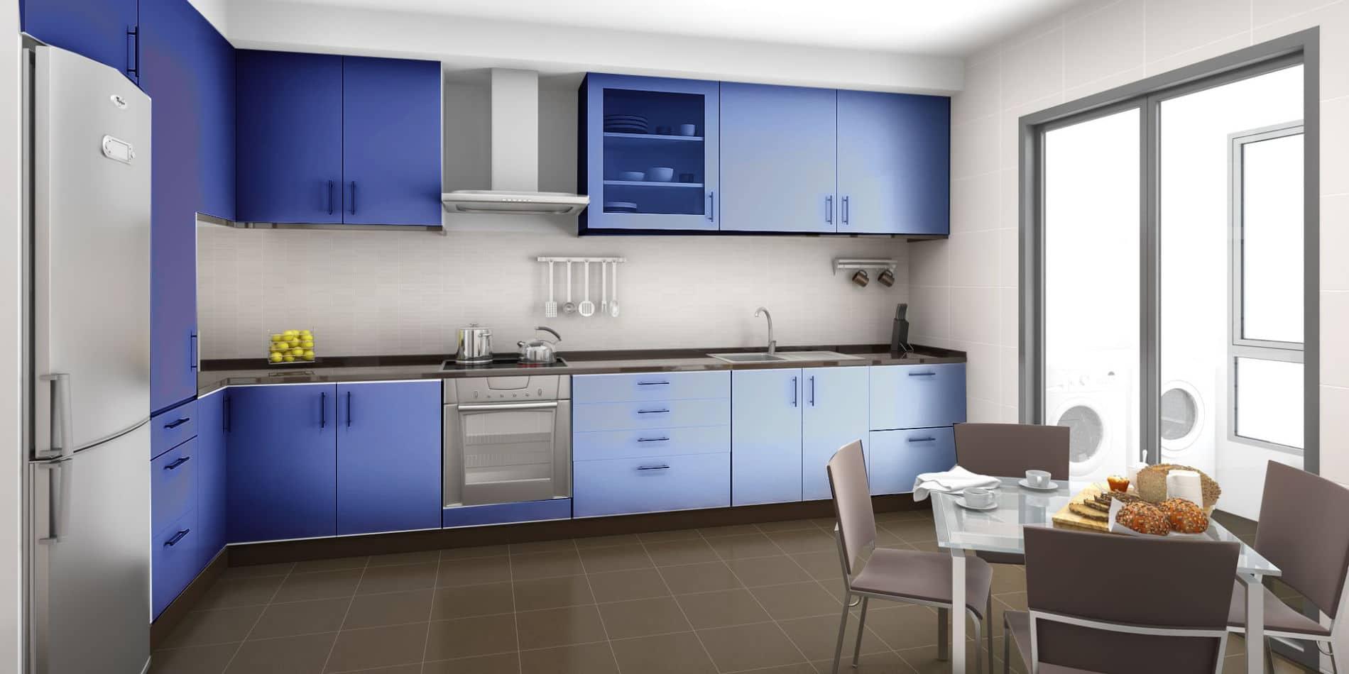 מטבח איכותי בצבע כחול