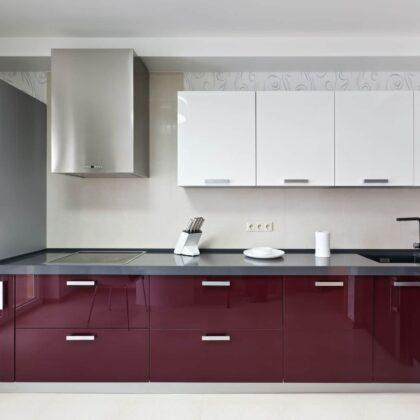 מטבח בצבע סגול - מטבח משוכלל דגם ליליה