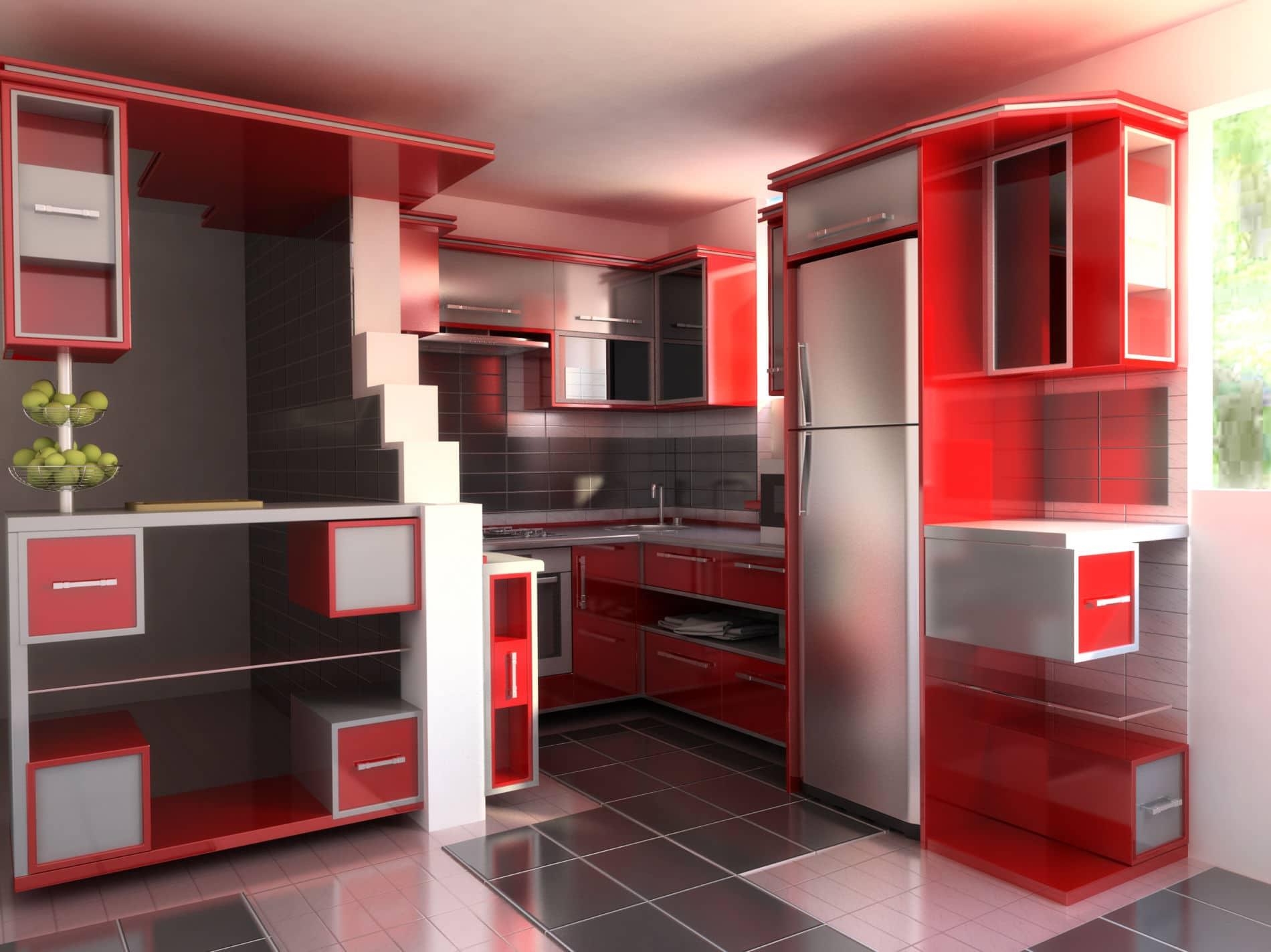 מטבח בעיצוב נדיר בצבע אדום דגם רד בלוק