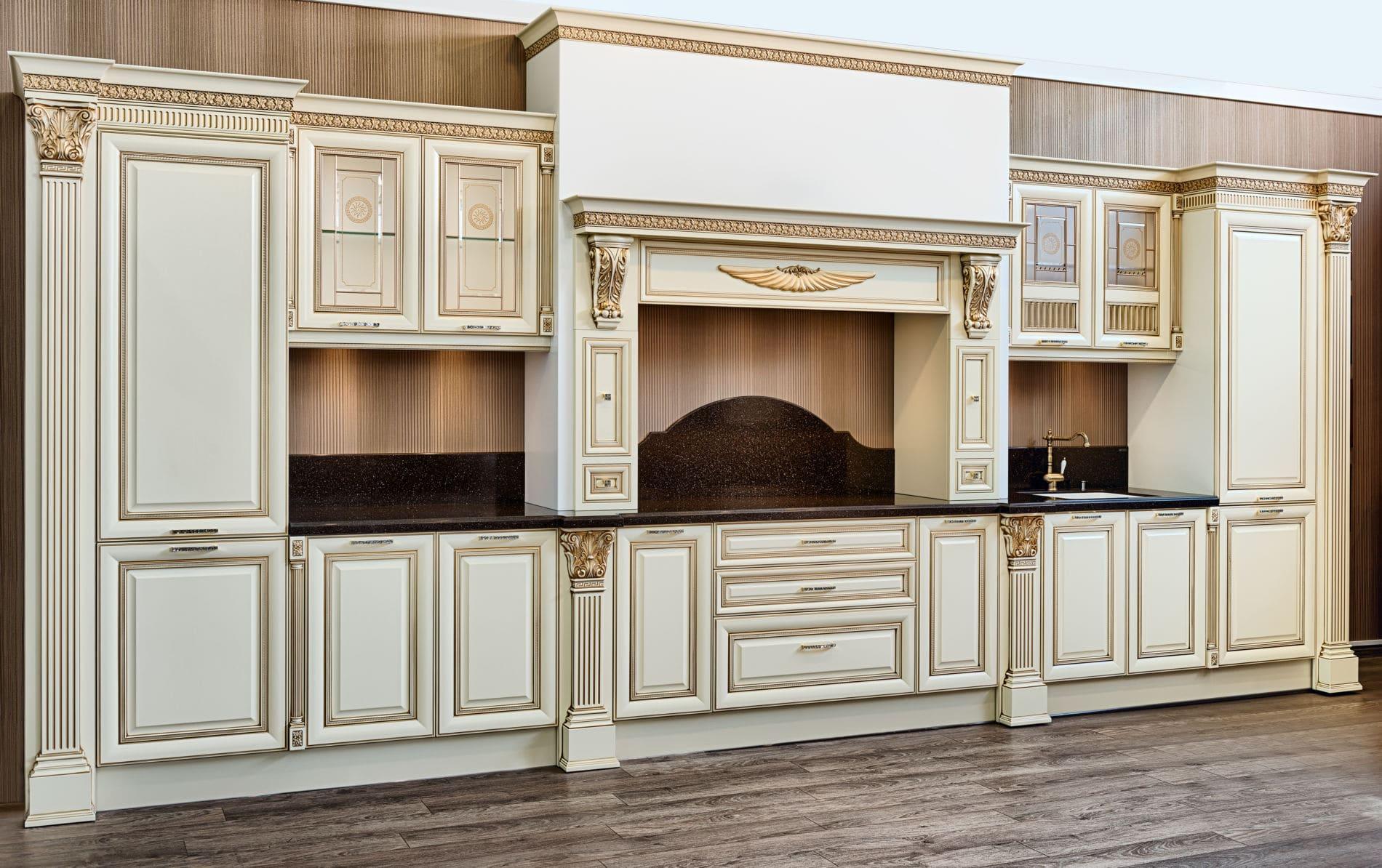 מטבח מעץ מעוצב בצורה יוקרתית דגם ניו רנסנס