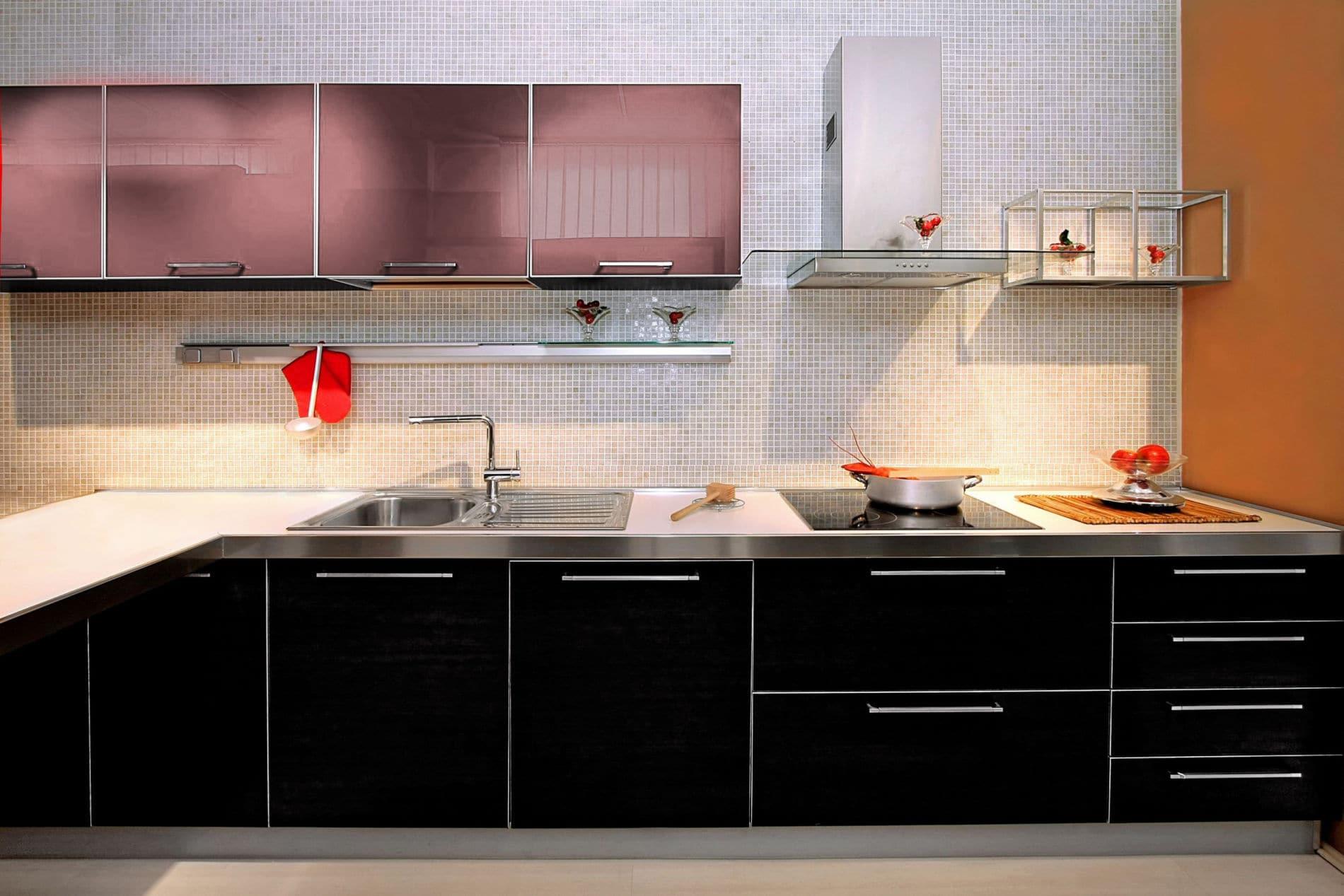 מטבח דגם זיו ססגוני שחור