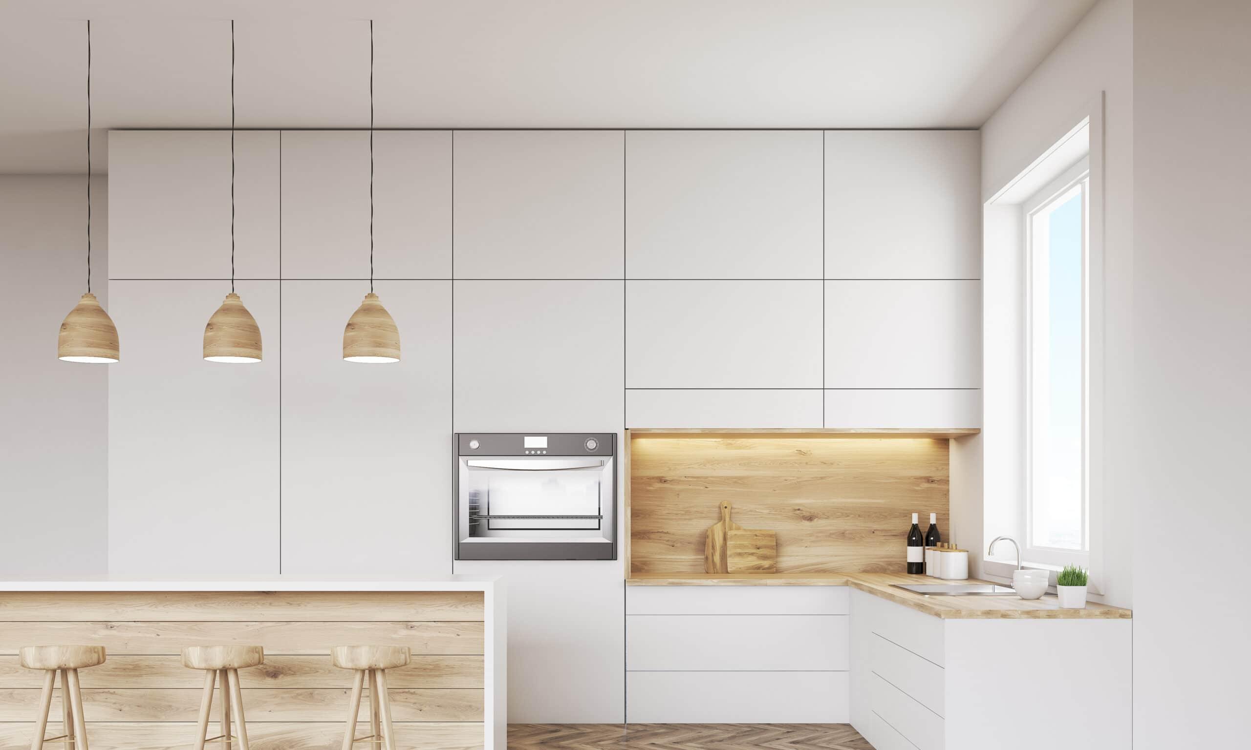 מטבח מודרני לבן עם ציפוי דמוי עץ עדין דגם 15 DS