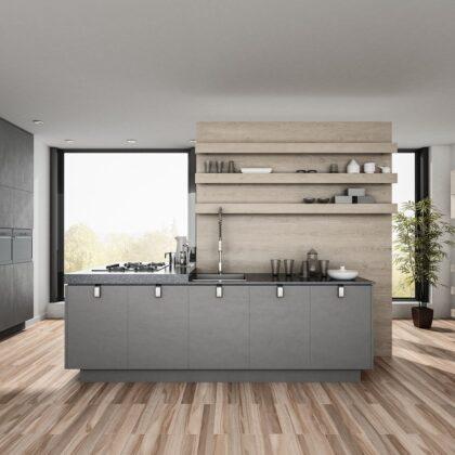 מטבח מודרני אפור שחור על רקע רצפץ עץ טיק דגם 34 DS