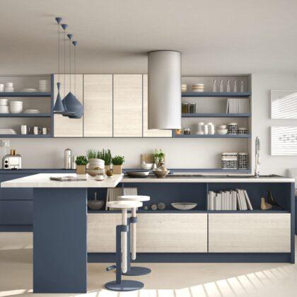 מטבח מודרני עץ כחול ושיש לבן דגם 35 DS