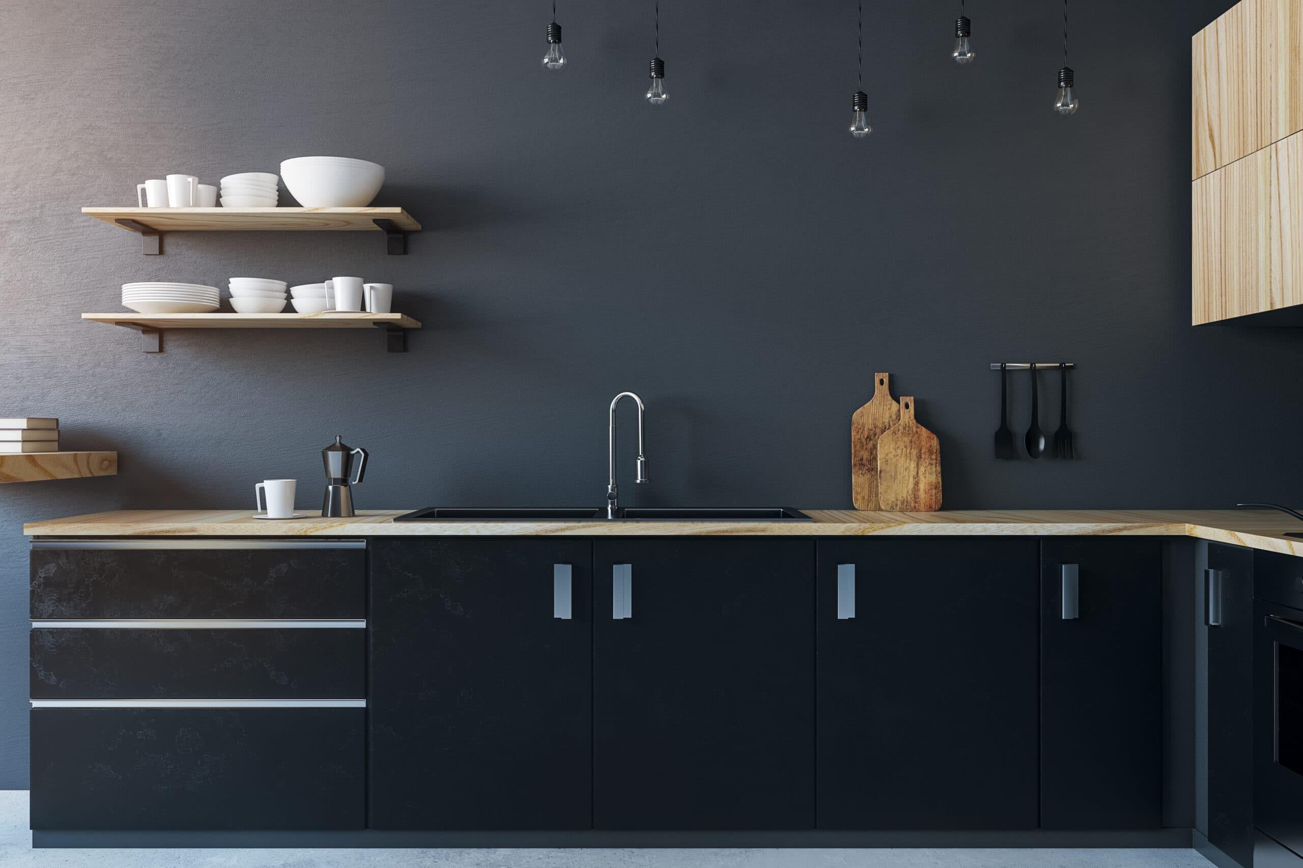 מטבח בצבע שחור עם ברז מתכת דגם 38 DS