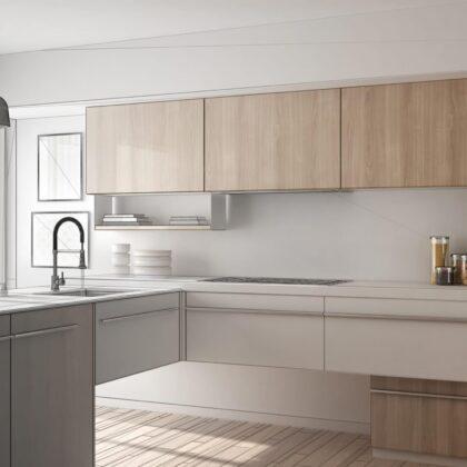 מטבח מודרני אפור עם עץ בהיר דגם 41 DS