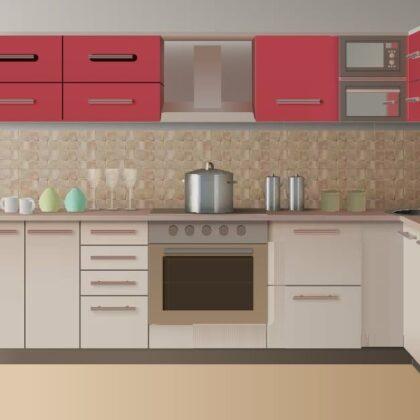 מטבח מודרני עם ארונות אדומים דגם 50 DS