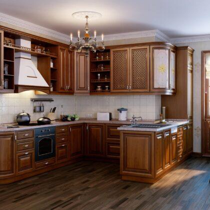מטבח קלאסי עם תבליטי עץ חום דגם 11 Diana