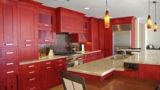מטבח בסגנון כפרי אדום