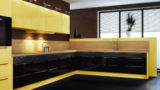 מטבחים מעוצבים - מטבח דגם מגנום בצבע צהוב