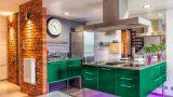 מטבח דגם גלמור ססגוני בצבע ירוק