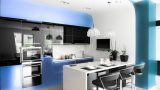 מטבח מודרני בצבע תכלת